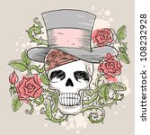 skull in the hat with roses | Shutterstock .eps vector #108232928