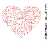 heart with love symbols in line ... | Shutterstock .eps vector #1082346998