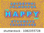 80's retro alphabet font....   Shutterstock .eps vector #1082355728
