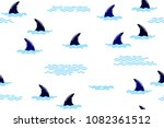 seamless pattern with shark fin ... | Shutterstock .eps vector #1082361512