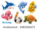 funny sea animals and fishes.... | Shutterstock .eps vector #1082363672