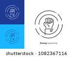 line art rised fist. leadership ...   Shutterstock .eps vector #1082367116