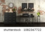 retro home office with vintage... | Shutterstock . vector #1082367722