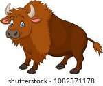 cartoon happy bison | Shutterstock .eps vector #1082371178