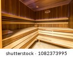 steam room upholstered with wood | Shutterstock . vector #1082373995