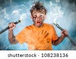 Boy has a electric shock - stock photo