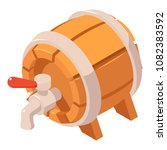 wood beer barrel with tap icon. ...   Shutterstock .eps vector #1082383592