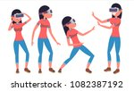woman in virtual reality... | Shutterstock .eps vector #1082387192