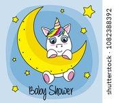 cute cartoon unicorn on a moon | Shutterstock .eps vector #1082388392