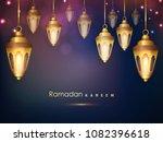 hanging golden lanterns for... | Shutterstock .eps vector #1082396618
