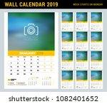 wall calendar planner template... | Shutterstock .eps vector #1082401652