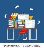 pile of papers  documents and... | Shutterstock .eps vector #1082404082