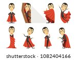 count dracula wearing red cape. ... | Shutterstock .eps vector #1082404166