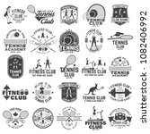 set of fitness and tennis club... | Shutterstock .eps vector #1082406992