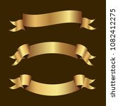 set of golden ribbons vector. | Shutterstock .eps vector #1082412275