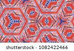 hand painted kaleidoscope tile. ... | Shutterstock . vector #1082422466