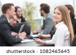 young business woman in office | Shutterstock . vector #1082465645