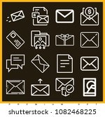 set of 16 message outline icons ... | Shutterstock .eps vector #1082468225
