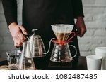 making pour over coffee with a... | Shutterstock . vector #1082487485