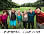 group of cheerful diverse... | Shutterstock . vector #1082489705