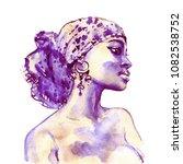 watercolor beauty african woman....   Shutterstock . vector #1082538752