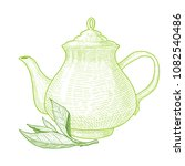 teapot and tea tree leaf. hand... | Shutterstock .eps vector #1082540486