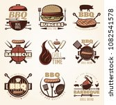 bbq isolated emblems set with... | Shutterstock .eps vector #1082541578