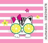 cute cat with lemon sunglasses... | Shutterstock .eps vector #1082546978