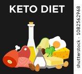 keto diet kitogenic nutrition... | Shutterstock .eps vector #1082562968
