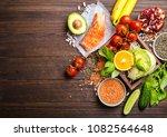 top view of healthy diet food... | Shutterstock . vector #1082564648
