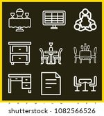 set of 9 table outline icons... | Shutterstock .eps vector #1082566526