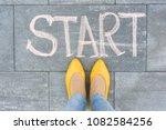 word start on the asphalt and...   Shutterstock . vector #1082584256