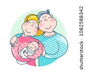 happy family. father  mother...   Shutterstock .eps vector #1082588342