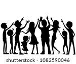 group of people looking up and... | Shutterstock .eps vector #1082590046