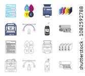 3d printer  newspaper printer ... | Shutterstock .eps vector #1082592788