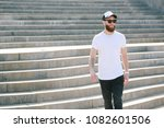 hipster handsome male model... | Shutterstock . vector #1082601506
