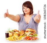 happy overweight woman eating... | Shutterstock . vector #108260726
