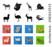 lama  ostrich emu  young... | Shutterstock .eps vector #1082613515