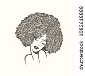 beautiful woman with afro curly ... | Shutterstock .eps vector #1082618888