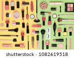 fashion cosmetic makeup set.... | Shutterstock . vector #1082619518