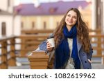 cheerful stylish  young woman... | Shutterstock . vector #1082619962