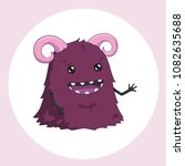 cute cartoon monster with horns.... | Shutterstock .eps vector #1082635688