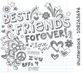 hand drawn best friends forever ... | Shutterstock .eps vector #108263696
