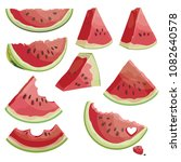a set of pieces of watermelon.... | Shutterstock .eps vector #1082640578