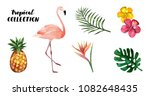 tropical garden watercolor... | Shutterstock .eps vector #1082648435