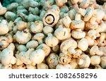 white champignons on the market.... | Shutterstock . vector #1082658296