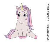 unicorn sad emoji  cute little... | Shutterstock .eps vector #1082691512