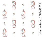cute cartoon unicorn with... | Shutterstock .eps vector #1082692355