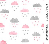 seamless watercolor clouds and... | Shutterstock .eps vector #1082704475
