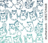 cute cats pattern kawaii... | Shutterstock .eps vector #1082724668